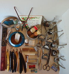 Large collection of old shaving and heardressing equipment