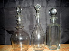 Three Vintage Glass Decanters, Mid 20th century