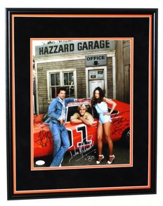 Dukes of Hazzard - Catherine Bach, Tom Wopat and John Schneider originally TRIPLE hand signed photo - Premium Framed + Certificate of Authenticity