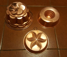 3 large copper pudding molds