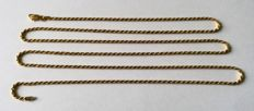 Long gold rope chain necklace