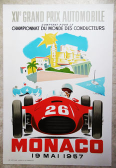 Large serigraphy of the Grand Prix of Monaco - J. Ramel - 1957
