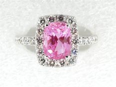 Superb 18 kt Ring with Pink Sapphires and Diamonds - Style Harry Winston.