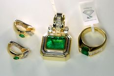 Set of jewellery set with approx. 2.75 ct diamonds and approx. 11.50 ct emeralds