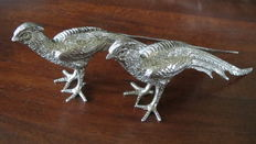 Set silver plated decorative Table- Pheasants. Midden 20th century.