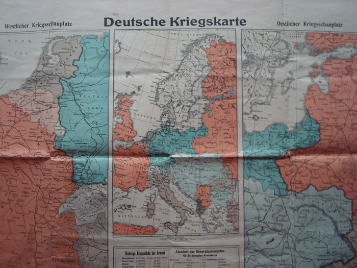 """German Empire; Old original map """"German War Map"""" with the ..."""