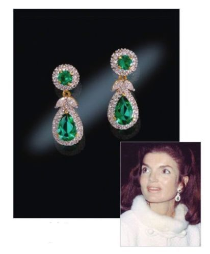 Jaqueline Kennedy exactly a replica of the earrings JFK made for Jacky, Camrose & Kross -  24k gold plated with simulated emarald