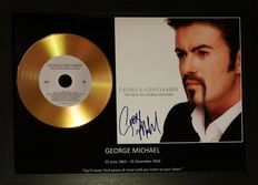 George Michael, 'Ladies and Gentlemenr' signed( facsimile )photo and gold disc effect presentation.