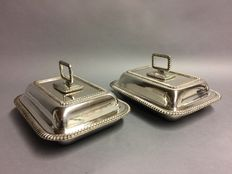 Set of identical silver plated double serving dishes with detachable knop, England, ca. 1935