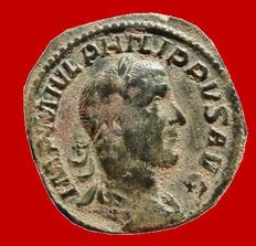 Roman Empire - Philip I (244-249 A.D.), bronze sestertius ( 21,12 g. 30 mm ) minted in Rome, LAET. FVNDATA. Laetitia.