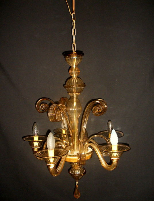 Art Nouveau style 5-light chandelier in Murano blown glass - Italy, 1930s