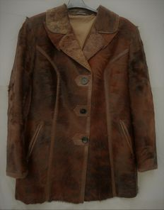 Long jacket with trimmings in foal leather and leather - France