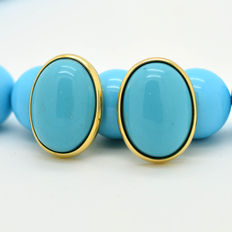 Handmade 18 kt Gold Earrings with Turquoise