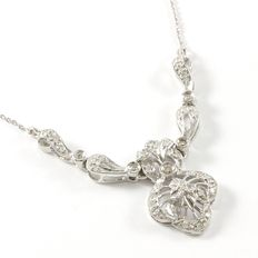 14kt White Gold Necklace Set with 0.33 ct Diamonds - 21 cm