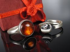 """ N.E. From and KJP"" 2 x silver ring with amber and rock crystal - 70s"