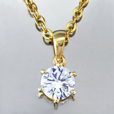 14K gold pendant set with created moissanites 0.84 ct  ***No reserve price***