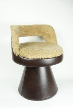 Designer unknown - vintage design chair, imitation leather and plush.