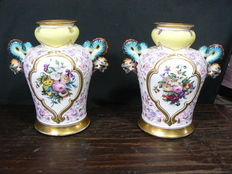 Italy-pair of antique hand-painted vases