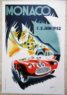 Large serigraphy of the Grand Prix of Monaco - B.Minne - 1952