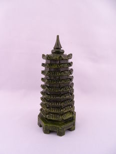 Beautifully carved green jade pagoda