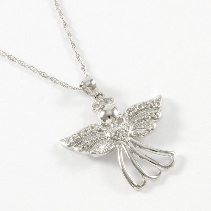 14kt white gold angel pendant necklace set with diamonds catawiki 14kt white gold angel pendant necklace set with diamonds aloadofball Image collections