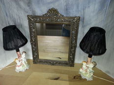 Italian set of 2 porcelain angel lamps with bronze Baroque crowned mirror