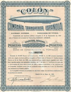 "Spain (Madrid) - ""Colon"" Compania Transaerea Espanola S.A.- 1928 - with Zeppelin Airship vignette"