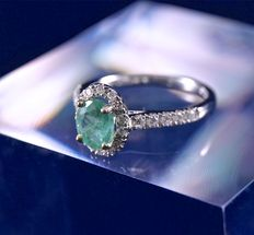 Gorgeous ring in 18 kt rhodium-plated white gold and superb central oval emerald of 0.75 ct with entourage of diamonds and 2 lines of 5 diamonds each, 0.30 ct in total.