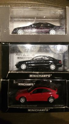Minichamps Scale 1/43 - Lot of 3 Mercedes-Benz models CLK Coupe, SL Coupe and C Sport Coupe