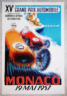 Large serigraphy of the Grand Prix of Monaco - B.Minne - 1957
