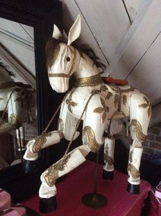 Very heavy horse puppet made of solid wood, 19th century