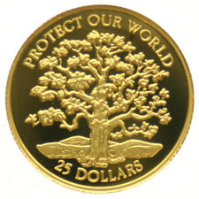 "Niue – 25 Dollars 1996 ""Protect our World"" – 1/25 oz gold"