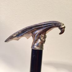 Gothic walking stick with silver plated handle, late 20th century