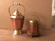 2 beautiful red with yellow copper extinguishing pots-of which 1 pot with Delft blue knob and handle-19th century