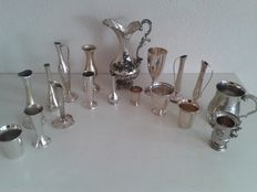Large collection of 18 silver-plated vases