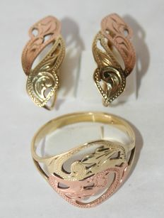 Ring and earrings in solid yellow gold on 14 kt pink gold