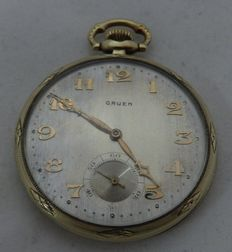 Gruen Verythin men's pocket watch, 14 kt gold. Lepine and Remontoir. Circa, 1900-10.