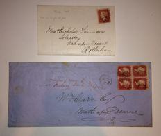 Great Britain, Queen Victoria -  selection of 12 Pages incl. strips of stamps on cover