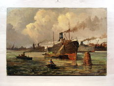 "N. Kah-signed canvas-' 46 ""maashaven Rotterdam"""