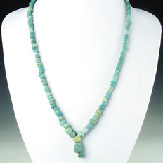 Necklace with Roman turquoise glass beads - 55 cm