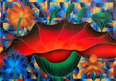 Kino Mistral - Ninfea Rossa con Vetrata Blu (Red Water Lily with Blue Glass)