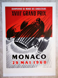 Large serigraphy of the Grand Prix of Monaco - René Lorenzi - 1960