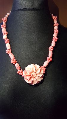 Pink Coral Carved Necklace With Flower Pendant