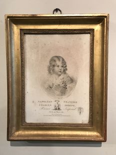 Original early litho of Napoléon II, in its original gilded frame, 1815.