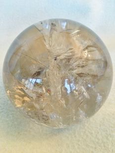 Lightly-smoked, transparent Rock Crystal sphere - 12cm - 1787gm