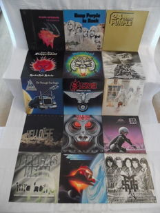 Almost Perfect Lot of 15 Albums - In Hardrock & Heavy Metal - Black Sabbath - Deep Purple ( 2 ) - Steppenwolf - Motörhead - Uriah Heep - Def Leppard - Saxon