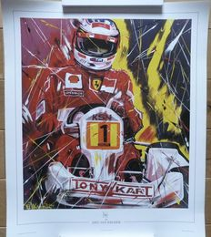 Erik Jan Kremer - lithography of Michael Schumacher on a Kart
