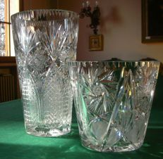 Two large carved crystal vases, 20th century
