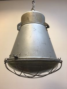 "Large industrial ceiling light model ""Barrel"" already converted."