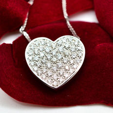 Necklace with Heart Pendant with Brilliant Cut Diamonds, 1.05 ct F-VVS